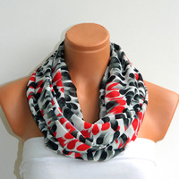 Infinity Scarf,Loop Scarf,Circle Scarf, Black, White, Red chiffon fabric Scarf,Cowl Scarf,Nomad Cowl..Black, White, Red, Eternity Scarf