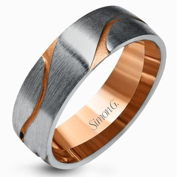 Simon G. 14K White & Rose Gold Carved Satin Finished Wedding Band