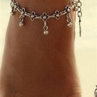 Silver Bead Dangle Anklet Chain