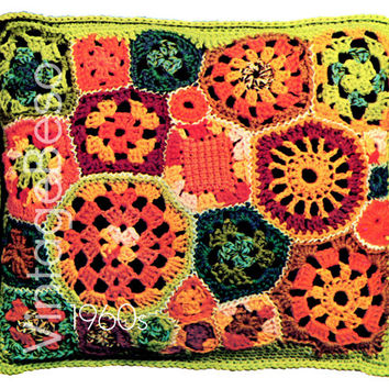 Crochet Pattern Vintage - 1960s Patch Pillow - Free Form 25 Granny Square Motifs Home Decor - Retro Crochet Pattern - Instant Download PDF