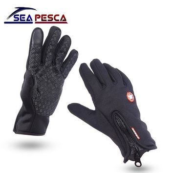 SEAPESCA Black Winter Fishing Gloves Hunting Gloves Anti-Slip Leather Gloves & Mittens Driving TouchScreen Gloves JK458