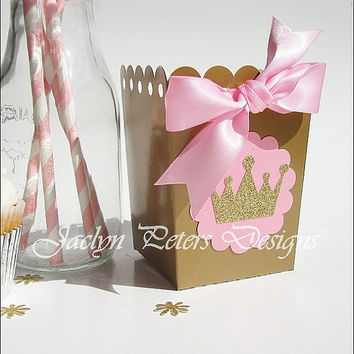 Popcorn Favor Box, Pink And Gold, Princess Glitter Crown, Satin Bow, Girls Birthday, Baby Shower, Dessert Bar Supply, Decorations, Set Of 12