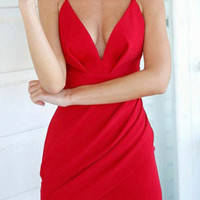 Solid Ruffled Hollow Out Stretchy Bodycon Dress