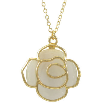 Mother Of Pearl Cat Eye Stone, Cutout Rose Flower Pendant, On Gold Plated Brass Chain Necklace