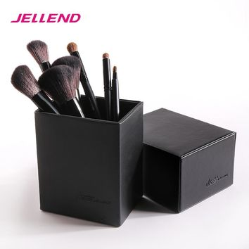 JELLEND 2017 New Magnetic Empty Portable Makeup Brush Round Pen Holder Cosmetic Tool PU Leather Cup Container Brushes Organizer