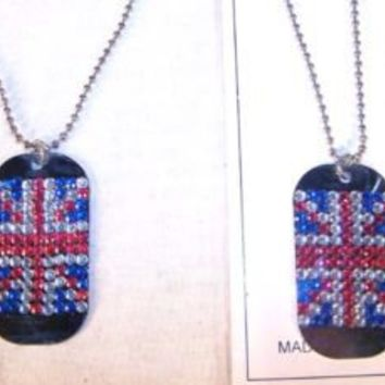 NEW DOG TAG BRITISH FLAG NECKLACE WITH JEWELS great britian FASHION JEWELRY