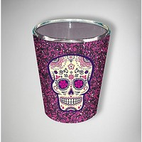 Glitter Sugar Skull Shot Glass 2 oz - Spencer's