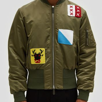J.W. Anderson / Satin Bomber Jacket w/ Crochet Patches