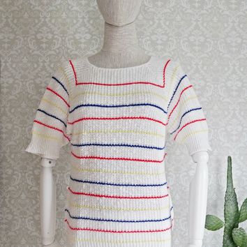 Vintage 1980s Primary Color + Knit Sweater