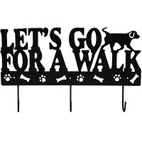 Dog Let's Go For A Walk Wall Rack Leash Hooks