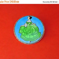 ON SALE Czech Enamel Brooch Pin, Vintage, Basse-Taille, Dancing Lady Brooch, Made in Czechoslovakia, 1920s