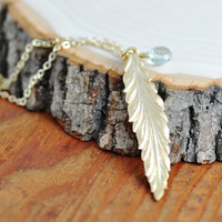Gold Feather Necklace - metal feather necklace, long feather necklace, green amethyst, amethyst necklace
