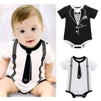 Toddler Infant Kids Baby Girl Boy Print Clothes Casual Bodysuit Playsuit Jumpsuit Short Sleeve Baby Bodysuits School Syle+