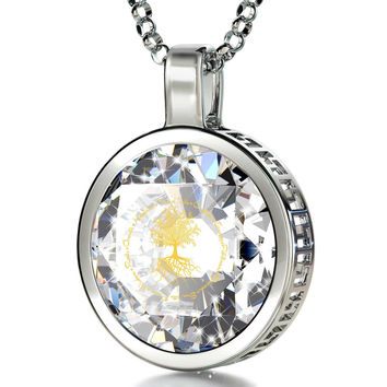 """""""Tree of Life"""", 14k White Gold Necklace, Cubic Zirconia"""