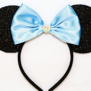 Cinderella - Black Sparkly Minnie Ears with Blue Bow