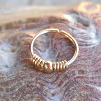 Septum Ring,Nose Ring,cartilage,helix,tragus,ear hoop earring 20 Gauge,10mm Diameter,14K Gold Filled Wrapped,Beaded