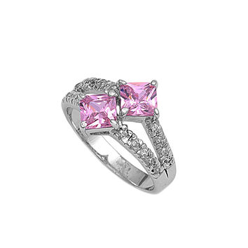 925 Sterling Silver CZ Double Princess Cut Pink Ring 15MM