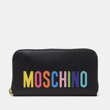 Moschino Multi Embroidered Text Logo Strap Wallet - WOMEN - JUST IN - Moschino - OPENING CEREMONY