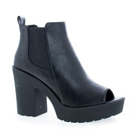 Central Black Pu By Soda, Peep Toe Elastic Insert Lug Sole Chunky Heel Ankle Booties
