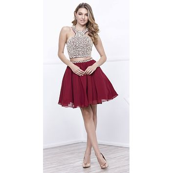 Open Back Two-Piece Halter Short Prom Dress Beaded Top Burgundy