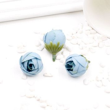 30 PCS 2.5CM Artificial Silk Tea Rose Bud Head Flowers For Wedding Decoration DIY Crown Flower Gift Box Scrapbooking Handicraft