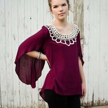 Burgundy Frill Top