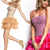 Nude Fully Beaded Corset Top Cocktail Dress With Ruffle Skirt - Unique Vintage - Cocktail, Evening  Pinup Dresses