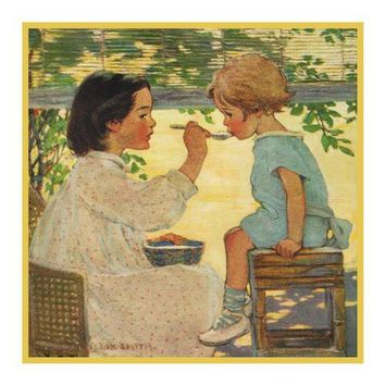 Big Sis Feeds Little Sister By Jessie Willcox Smith Counted Cross Stitch or Counted Needlepoint Pattern