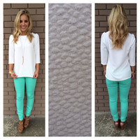 White Pebbled 3/4 Sleeve Blouse