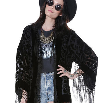 SALE 20% OFF // Gypsy Dreaming Floral Brocade Velvet Burnout Fringe Kimono - Black