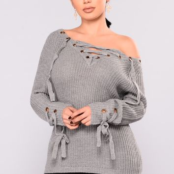Let It Be Lace Up Sweater - Heather Grey