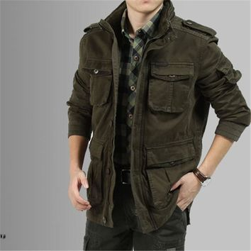 Big Size M-5XL 2017 Winter Denim Jacket Men Outdoors Casual 100% Cotton Parka Military Coat Army Green Khaki Black Coat M123