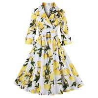 Vintage High Waist Lemon Print Belted Dress
