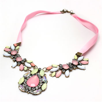 Cherry Pink Blossom Sakura Crystal Pendant Necklace Chain Jewelry