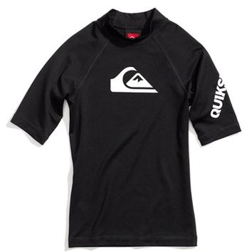 Boy's Quiksilver 'All Time' Short Sleeve Fitted Rashguard,