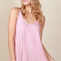 Too Good V-Neck Tank Rose