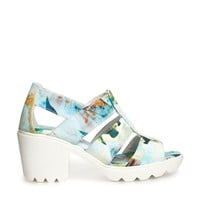 Swear Jane 4 Blue Floral Mid Heeled Sandals -