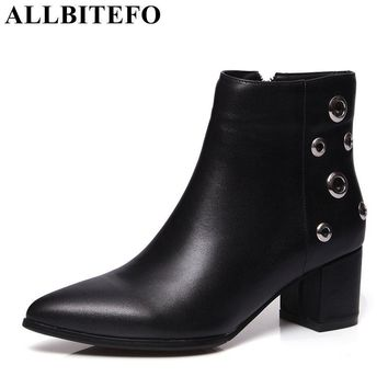 ALLBITEFO two style genuine leather pointed toe cut-outs women boots brand thick heel martin boots girls boots plus size:34-43
