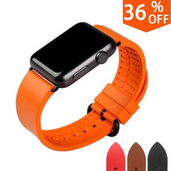 Quality in fashion orange watchbands for iwatch sports fluororubber rubber watch strap for apple watch band 42mm 38mm