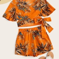 Tropical Print Criss Cross Wrap Top With Shorts