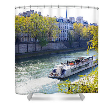 Paris Seine River in Spring with Boat Polyester Fabric Shower Curtain