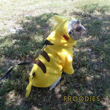 French Bulldog Boston Terrier Pug Dog Froodies Hoodies Halloween Costume Cosplay Pokemon Go Pikachu Fleece Jacket Sweatshirt Coat