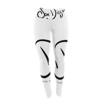"Gabriela Fuente ""San Diego I Love You"" Travel Typography Yoga Leggings"