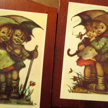 Childrens Wall Art Retro Decor vintage 60s decoupage picture wood folk art set 2 girl and boy Hummel rain umbrella Mad Men decor mid century