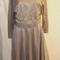 Studio 36 Vintage Turtleneck Dress Size 14 Gray & Silver Long Sleeves 1970s