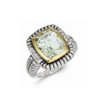 Antique Style Sterling Silver 6.05 Green Amethyst & .03ct. Diamond Ring