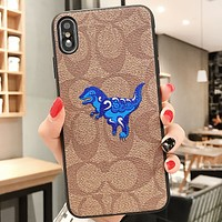COACH New fashion letter pattern dinosaur print couple protective cover phone case