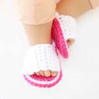 Crochet Baby Sandals - Crochet Baby Shoes - Pink Flip Flops for Babies - Baby Sandals for Girls -  Crochet Baby Shoes - Baby Shower Gift