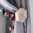 Plum & Bow Woodblock Hexagon Curtain Tie-Back- White One