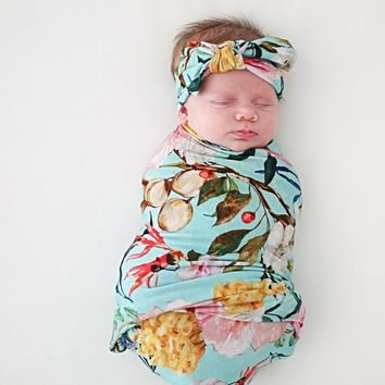 Tuscan Teal Swaddle & Headband Set by Posh Peanut
